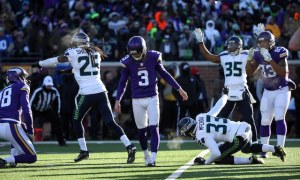 Jan 10, 2016; Minneapolis, MN, USA; Minnesota Vikings kicker Blair Walsh (3) reacts after missing a field goal attempt against the Seattle Seahawks in the fourth quarter of a NFC Wild Card playoff football game at TCF Bank Stadium. Mandatory Credit: Brace Hemmelgarn-USA TODAY Sports